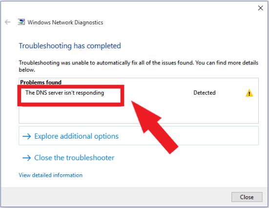 DNSサーバーが応答しない